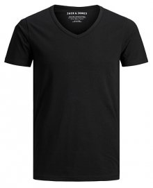 Jack&Jones Pánské triko JJEBASIC V-NECK TEE 12059219 BLACK L