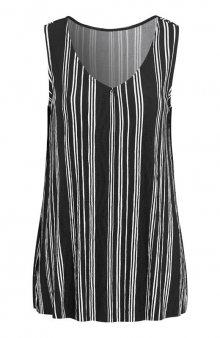 Úpletové tričko bez rukávů s mačkaným efektem / černá/proužky