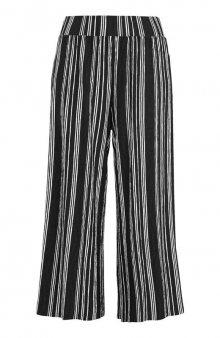 Kalhoty culotte z úpletu s mačkaným efektem / černá/proužky