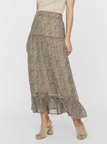 Béžová vzorovaná maxi sukně VERO MODA Kay
