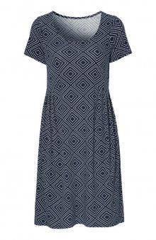 Úpletové šaty se vzorem / modrá/se vzorem