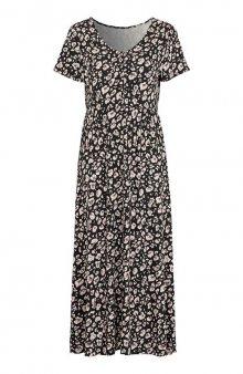 Úpletové maxi šaty / černá/leopardí
