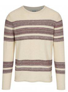 Vínovo-béžový svetr s pruhy ONLY & SONS Aldin