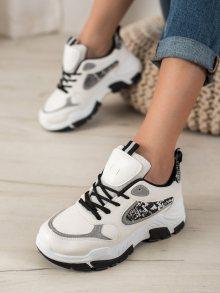 Trendy bílé  tenisky dámské bez podpatku 41