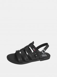 Černé dámské kožené sandále Tommy Hilfiger