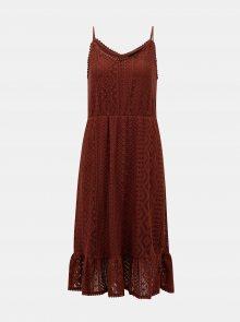 Vero Moda hnědé krajkové šaty Lea - S