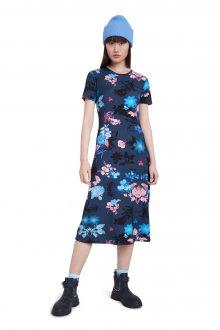 Desigual modré květinové midi šaty Vest Bouquet - M
