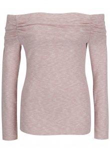 Růžový žíhaný svetr s odhalenými rameny Dorothy Perkins