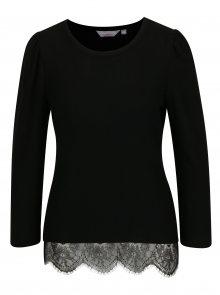 Černý svetr s krajkovým lemem Dorothy Perkins Petite