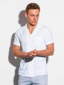 Ombre Clothing Jednoduchá bílá košile s krátkým rukávem K561