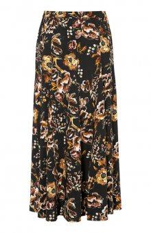 Široká květovaná sukně / černá/se vzorem