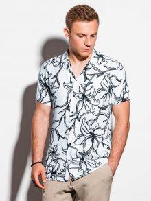Ombre Clothing Bílá košile s krátkým rukávem a květinovým vzorem K551
