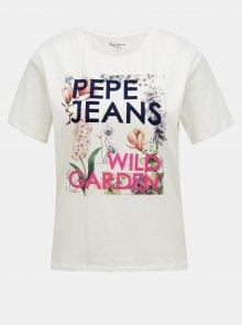 Pepe Jeans bílé tričko s květinovým potiskem - S