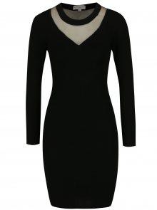 Černé svetrové šaty s průsvitným sedlem Apricot