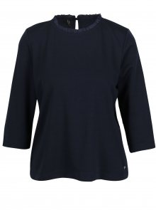 Tmavě modré tričko s 3/4 rukávem a volánem u krku ONLY Victoria