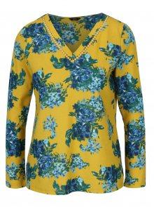 Modro-žluté květované tričko s dlouhým rukávem M&Co
