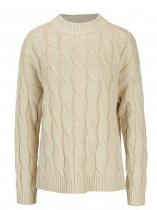 Béžový pletený svetr s rozparky Apricot