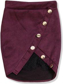 Bordó semišová sukně s krajkou