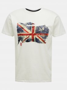 Pepe Jeans bílé pánské tričko s potiskem - S