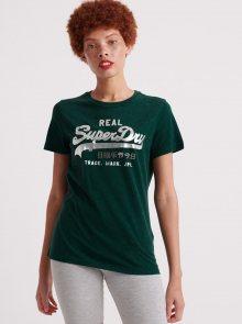 Tmavě zelené dámské tričko s potiskem Superdry