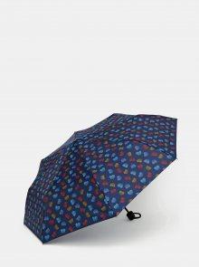 Tmavě modrý vzorovaný skládací deštník Doppler