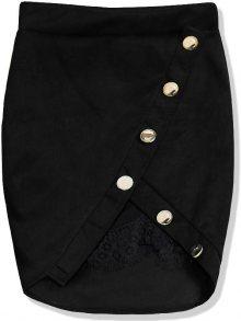 Černá semišová sukně s krajkou