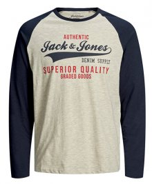 Jack&Jones Pánské triko JJERAGLAN LOGO TEE 12172365 Navy Blazer L