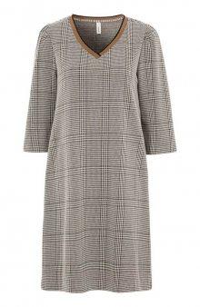 Kostkované úpletové šaty Kiara / hnědá/kostkovaný vzor