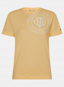 Žluté dámské tričko s potiskem Tommy Hilfiger - L
