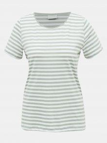 Bílo-zelené pruhované basic tričko VILA Dell - S