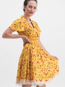 Žluté květované šaty Blutsgeschwister Sweet Mariandl - M