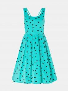 Tyrkysové puntíkované šaty Dolly & Dotty - M