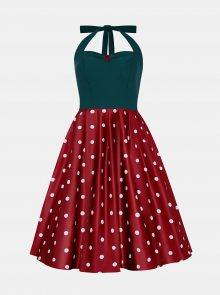 Zeleno-vínové puntíkované šaty Dolly & Dotty - M