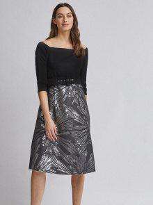 Vzorované šaty v černo-stříbrné barvě Dorothy Perkins - S