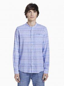 Modrá pánská pruhovaná lněná košile Tom Tailor - M