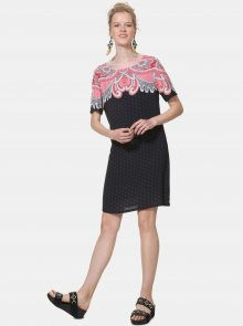 Černé vzorované šaty Desigual Túnica - M