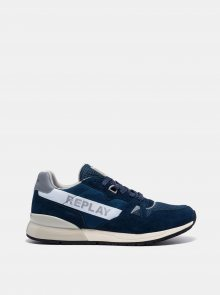 Tmavě modré pánské tenisky se semišovými detaily Replay - 41