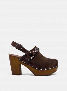 Hnědé semišové sandálky na podpatku Replay - 37