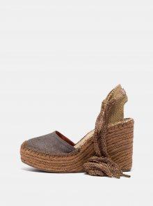 Hnědé dámské sandálky na klínku Replay - 39