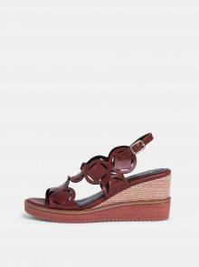 Vínové kožené sandálky Tamaris - 38