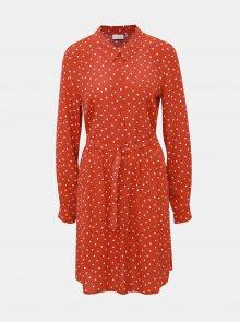 Červené puntíkované košilové šaty VILA Sulola - S