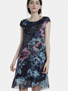 Tmavě modré vzorované šaty Desigual Cleveland - M