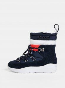 Tmavě modré dámské zimní kotníkové boty se semišovými detaily Tommy Hilfiger - 37