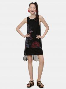 Černé vzorované šaty s korálky Desigual Siena - M