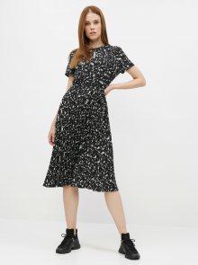 Černé vzorované šaty s plisovanou sukní Dorothy Perkins - M
