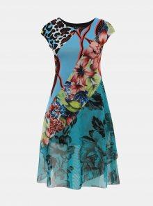 Zelené tylové květované šaty Desigual Cleveland - S