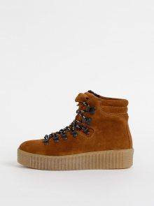 Hnědé semišové zimní kotníkové boty na platformě Pieces Halima - 37