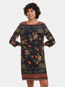 Černé květované šaty Desigual Praga - M