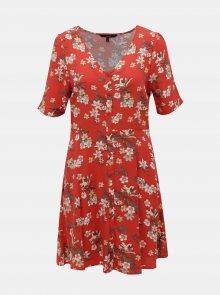 Červené květované šaty VERO MODA Simply - M