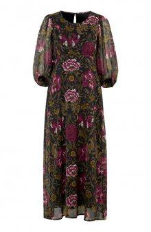 Květované šifonové šaty s nabíranými rukávy / černá/se vzorem